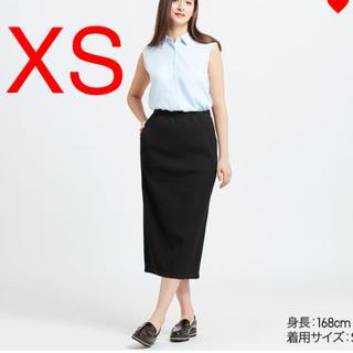 ユニクロ(UNIQLO)のユニクロ リブタイトロングスカート リブ スカート ブラック xs(ロングスカート)