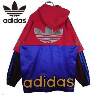 adidas - 激レア 90s 銀タグ デサント社 adidas デカロゴ パーカー 384