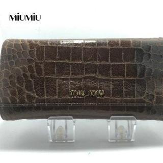 miumiu - miumiu(ミュウミュウ) 長財布 - ダークブラウン 型押し加工