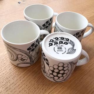 アラビア(ARABIA)のアラビア 旧ロゴ ブラックパラティッシ マグカップ 4個(グラス/カップ)