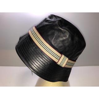 バーバリー(BURBERRY)の23バーバリーロンドン◆帽子 ハット 革 皮レザー黒バーバリーカラーベージュ系M(ハット)