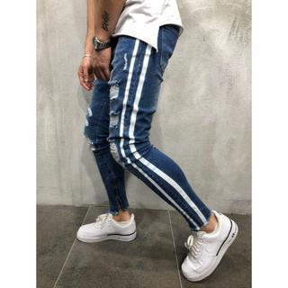 サイズが選べる ダメージデニム ブルー ネイビー 青 紺 ダメージジーンズ