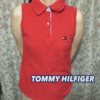 トミーヒルフィガー(TOMMY HILFIGER)の*TOMMY HIFGER*ノースリーブポロシャツ*レッド*S*トミーフィルガー(ポロシャツ)