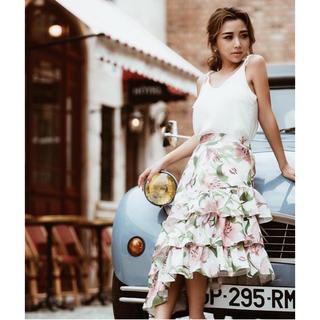 エイミーイストワール(eimy istoire)の定価¥14018♡完売品♡新品♡vacation flowerラッフルスカート(ひざ丈スカート)
