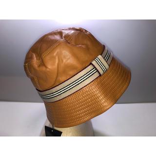 バーバリー(BURBERRY)の24バーバリーロンドン◆帽子ハット革皮レザー茶色キャメルノバチェックベージュ系M(ハット)