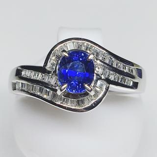 Pt900 プラチナ ダイヤモンド サファイア リング 豪華 綺麗 華やか(リング(指輪))