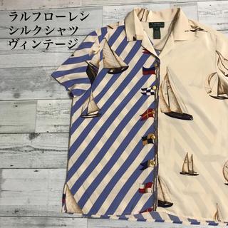 POLO RALPH LAUREN - used ラルフローレン シルクシャツ ヨット柄 柄シャツ ヴィンテージ激レア