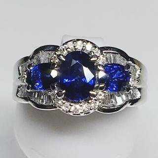 Pt900 プラチナ ダイヤモンド サファイア 豪華 リング 指輪 大人女子(リング(指輪))
