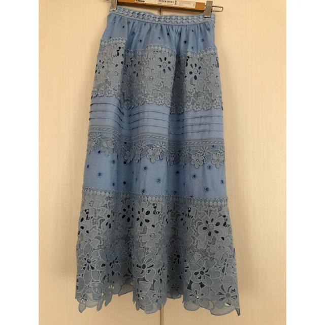 Chesty(チェスティ)のチェスティ フラワーレーススカート ブルー 新品未使用 レディースのスカート(ロングスカート)の商品写真