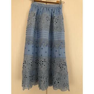チェスティ(Chesty)のチェスティ フラワーレーススカート ブルー 新品未使用(ロングスカート)