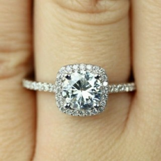ダイヤモンドリング 大粒ジルコニアリング シルバーリング キラキラリング 12号(リング(指輪))