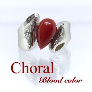 新品【血赤珊瑚】濃厚血赤色 サンゴ 裏反りデザイン プラチナ製リング(リング(指輪))