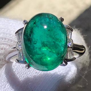 特大! 特価! エメラルド カボション ダイヤモンド リング 指輪 pt900(リング(指輪))