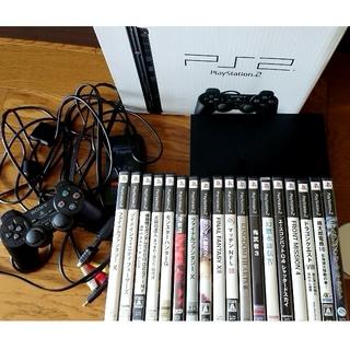 プレイステーション2(PlayStation2)のPS2本体(薄型)とソフト18本(家庭用ゲーム本体)