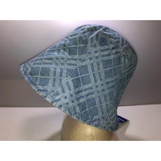 バーバリーブルーレーベル(BURBERRY BLUE LABEL)の29バーバリーブルーレーベル◆帽子 ハット デニム水色淡い青系チェック柄三陽商会(ハット)
