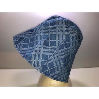 バーバリーブルーレーベル(BURBERRY BLUE LABEL)の30◆バーバリーブルーレーベル◆帽子 ハット デニム 青系 チェック柄 三陽商会(ハット)