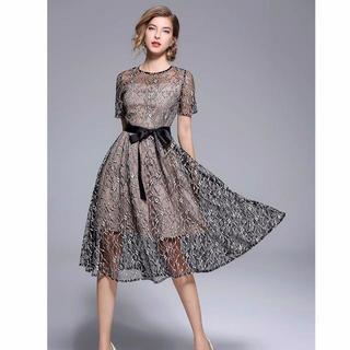 ZARA - 新品 ノーブランド ワンピース ドレス 透け感 限定 シースルー 結婚式 二次会