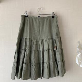 ギャップ(GAP)のGAP麻スカート美品(ひざ丈スカート)