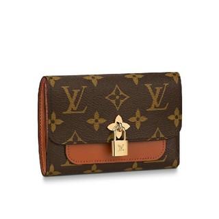LOUIS VUITTON - ルイヴィトン 三つ折り 財布 LV ロゴ フラワー ブラワン