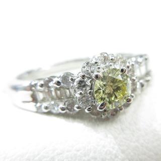 天然ダイヤモンド イエローダイヤモンド0.26ct プラチナ900製 指輪(リング(指輪))