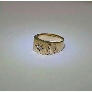 印台 K18 ダイヤ付き 指輪リング サイドダイヤ付き(リング(指輪))
