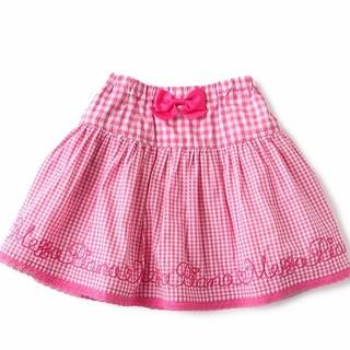 mezzo piano - メゾピアノ 今季🎀ギンガム刺繍スカート 120