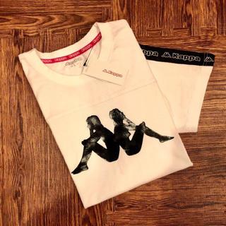 カッパ(Kappa)の新品☆ カッパ 袖 テープ ロゴ Tシャツ 半袖 ホワイト ロゴ kappa(Tシャツ/カットソー(半袖/袖なし))