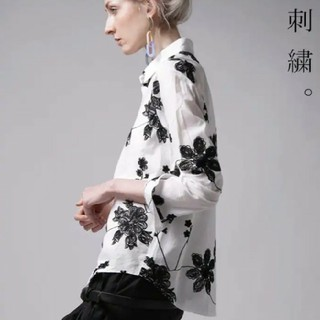 antiqua - (20日掲載終了)アンティカ 花刺繍シャツ