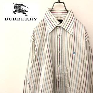 BURBERRY - 【激レア】バーバリー☆刺繍ロゴ入りマルチカラー長袖ブロードストライプシャツ90s