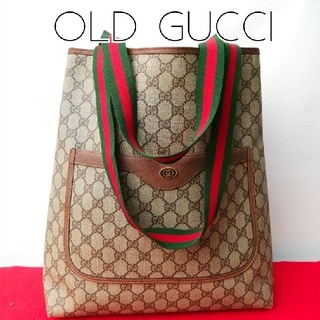 Gucci - 良品 レア! オールドグッチ シェリーライン ビンテージトートバッグ 正規品