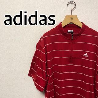 アディダス(adidas)のadidas ハーフジップTシャツ レッド アディダス(Tシャツ/カットソー(半袖/袖なし))