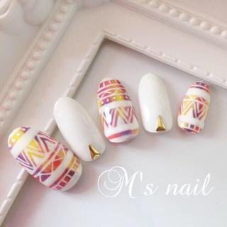 エスニック柄nail (White)