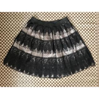 axes femme - ブラック レース フリンジ ミニスカート