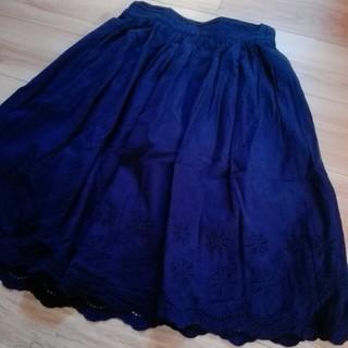 刺繍スカート ネイビー(ひざ丈スカート)