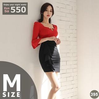 キャバドレス 395R ミニドレス 赤 黒 バイカラー ミニドレス 七分袖 M(ミディアムドレス)