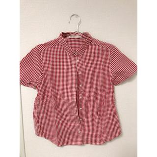 赤 ギンガムチェック シャツ(シャツ/ブラウス(半袖/袖なし))