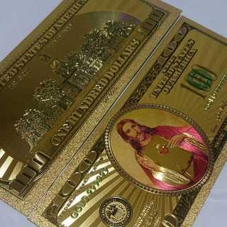IN GOD 100ドル札2枚 キリスト像ゴールド!!お財布やバッグに(財布)