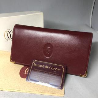 カルティエ(Cartier)のカルティエ  長財布 がま口 二つ折り マストライン   ボルドー(財布)