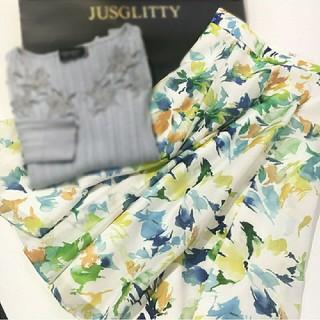 ジャスグリッティー(JUSGLITTY)のペイントフラワースカート(SS)♡ジャスグリッティー(ひざ丈スカート)