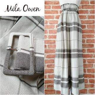Mila Owen - Mila Owen*ミラオーウェン【美品】ベルト付きチェックワイドパンツ