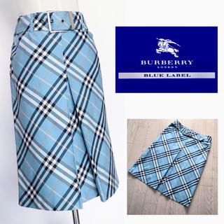 バーバリーブルーレーベル(BURBERRY BLUE LABEL)の美品 バーバリー ブルーレーベル スカート チェック柄 36(ひざ丈スカート)