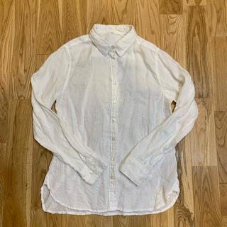 MUJI (無印良品) - 無印良品 MUJI 白リネン長袖シャツ