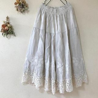 nest Robe - *marche'de soeur購入*新品*刺繍リネンガウチョパンツ*生成り*