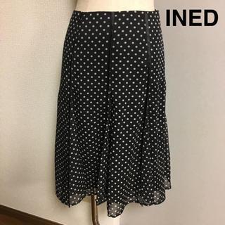 イネド(INED)の【INED】イネド  ドット 水玉 ブラック シフォンスカート(ひざ丈スカート)