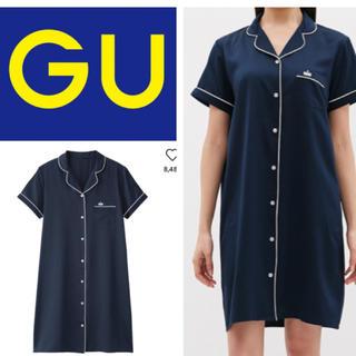GU - サテンパジャマワンピース(半袖)  ネイビー
