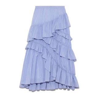 FRAY I.D - 新品 フレイアイディー コットンティアードスカート ブルー 0