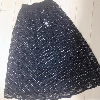 メルロー(merlot)のレース×ドットスカート(ひざ丈スカート)