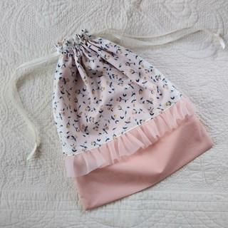 ⭐Liberty⭐ f.flora×C&S海のブロード チュールフリル巾着L(外出用品)