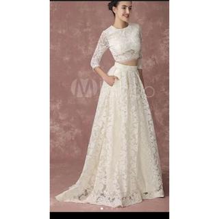 92d6f1f1da3 ウエディングドレス 結婚式 二次会 セパレート Aライン レース(ウェディングドレス)