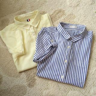 ジーユー(GU)のGUカラー&ストライプ半袖シャツ(シャツ/ブラウス(半袖/袖なし))